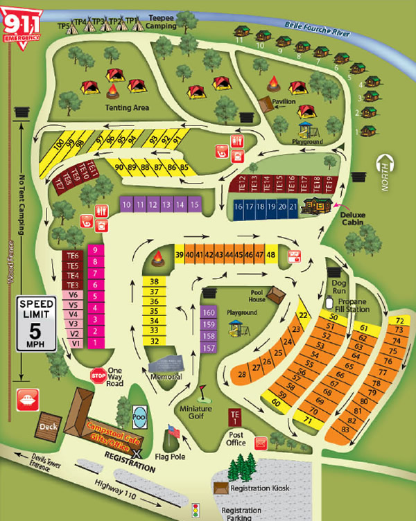 Devils Tower KOA Campground Map, Devils Tower RV Campground, Wyoming on fll map, route map, coarsegold california map, slc map, zip code map,
